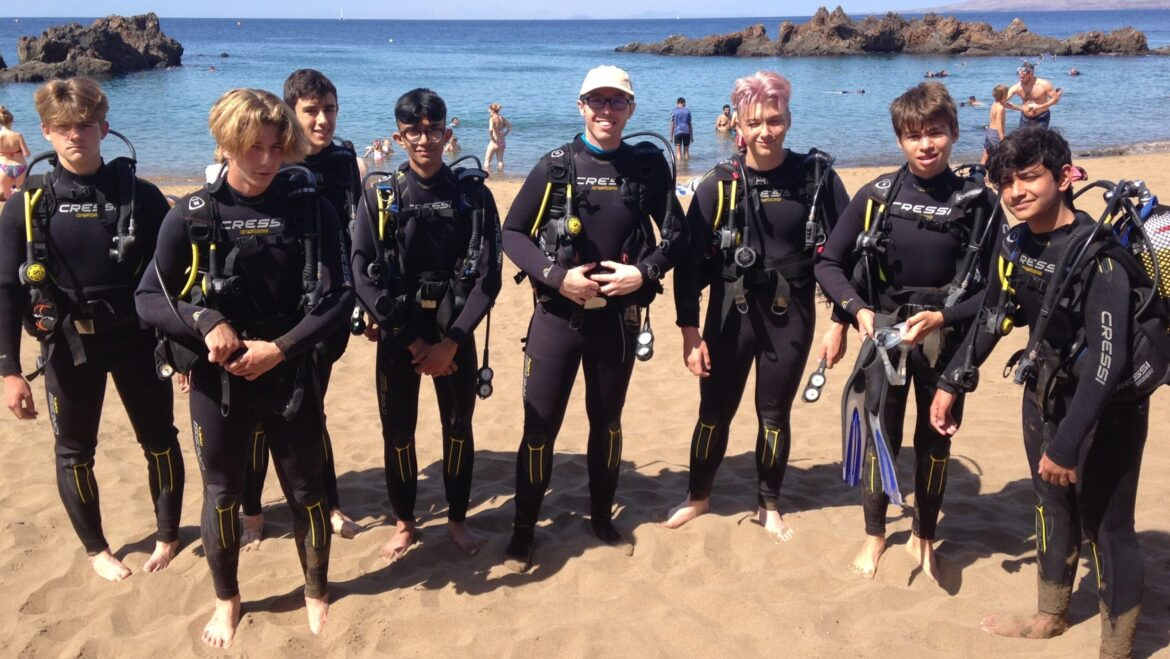 Newly qualified Habs Boys are testing out there PADI skills in Lanzarote